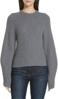 Theory Sculpted Sleeve Shaker Stitch Merino Wool Sweater