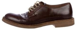 Brunello Cucinelli Round-Toe Leather Oxfords