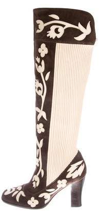 Dolce & Gabbana Suede Floral Knee-High Boots