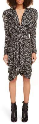 Isabel Marant Drape Detail Long Sleeve Minidress