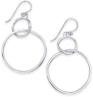 Essentials Large Silver Plated Twisted Looped Drop Earrings