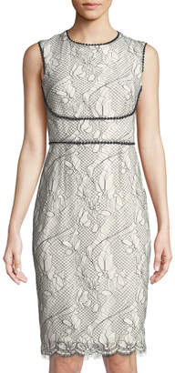 Tahari ASL Alma Two-Tone Lace Sheath Dress