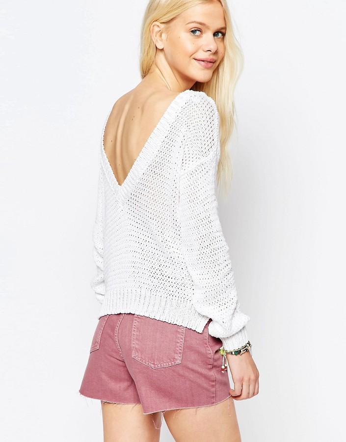 ASOS Chunky Sweater With V Back