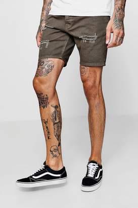 boohoo Slim Fit Khaki Denim Shorts