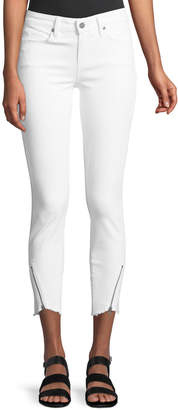 Paige Verdugo Mid-Rise Skinny Jeans w/ Angled Zip & Raw Hem