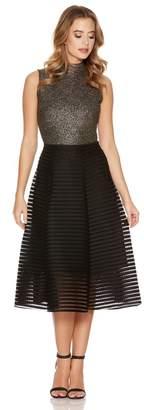 Quiz Black Mesh Ribbed Midi Skirt
