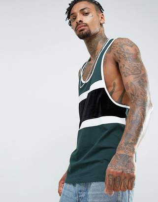 Asos Extreme Racer Back Tank With Velour Panel And Contrast Binding