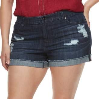 JLO by Jennifer Lopez Plus Size Distressed MidRise Denim Shorts