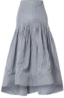 Rosie Assoulin Striped Taffeta Midi Skirt - Blue