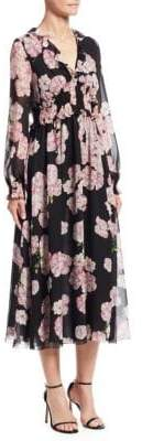 Giambattista Valli Ruffled Floral Silk Midi Dress