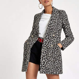 River Island Womens Brown leopard print double-breasted jacket