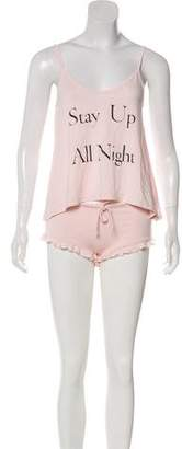 Wildfox Couture Graphic Print Knit Pajama Set w/ Tags