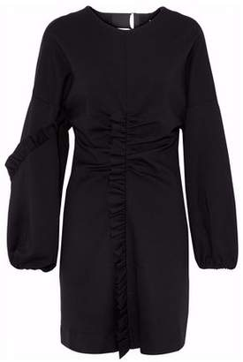 Tibi Open-Back Ruffled Cady Mini Dress