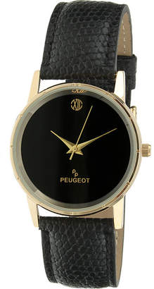 Peugeot Mens Black Leather Strap Watch