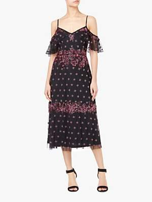 Drop Shoulder Beaded Midi Dress, Black/Multi