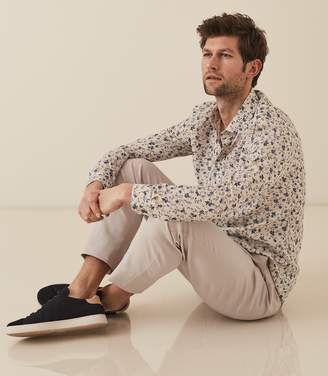 Reiss WESLEY FLORAL PRINTED LINEN BLEND SHIRT White