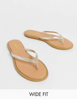 11b8afd628efbd Simply Be Wide Fit Simply Be wide foot Zenda studded sole flip flop in  metallic silver