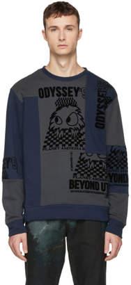 McQ Blue and Grey Patchwork Crewneck Sweatshirt