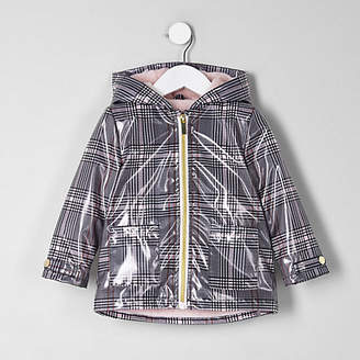 River Island Mini girls Black check rain coat