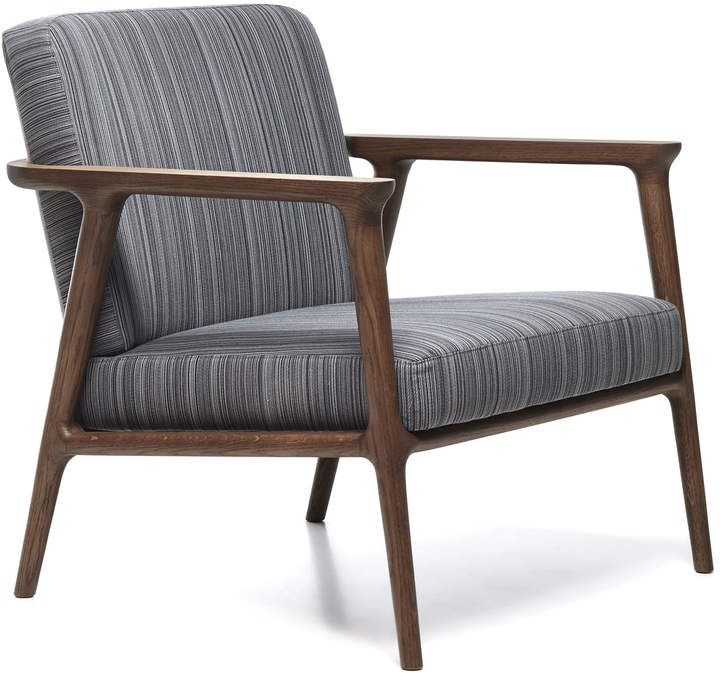 Zio Lounge Chair, Eiche zimtfarben / Bezug Manga Blau