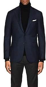 Canali Men's Checked Wool Two-Button Sportcoat-Navy
