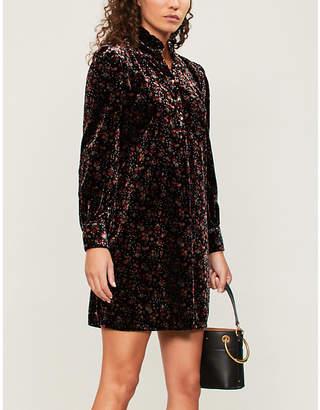 Claudie Pierlot Ruffled-collar printed velvet mini dress