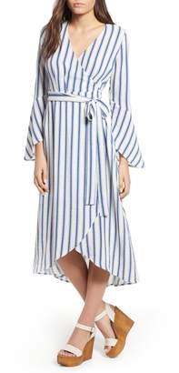 Moon River Stripe Flared Sleeve Wrap Dress