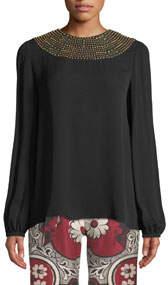Long-Sleeve Embellished-Neck Silk Blouse