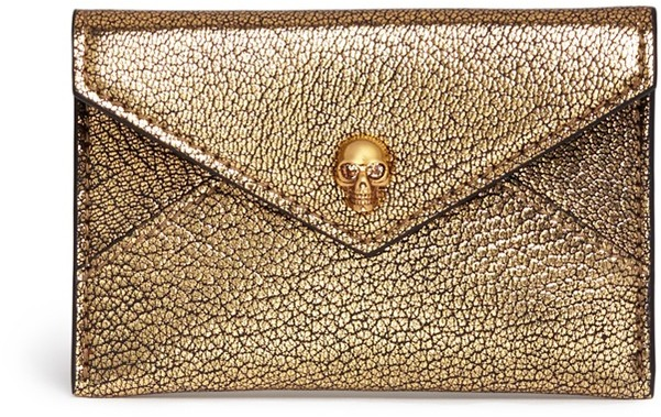 Alexander McQueen Alexander McQueen Skull metallic leather envelope card holder
