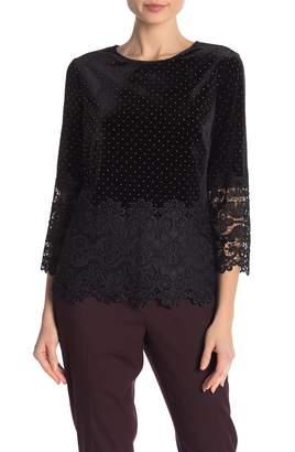 Badgley Mischka Studded Lace Trim Top