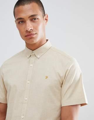 Farah Steen slim fit short sleeve textured shirt in sand
