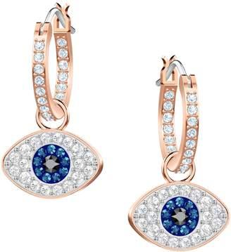 b8ae47751 Swarovski Crystal Duo Evil Eye Hoop Earrings