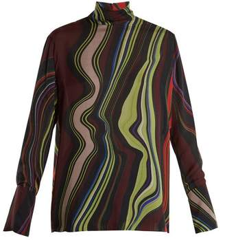By. Bonnie Young - Asylum Print High Neck Silk Chiffon Top - Womens - Multi