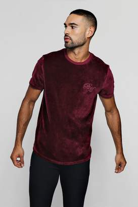 boohoo Velour Curve Hem T-Shirt With BM Logo