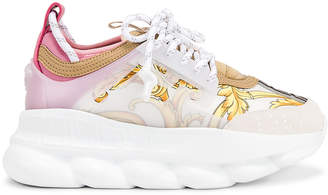 Versace Chain Reaction Sneakers in Hibiscus White Multi | FWRD