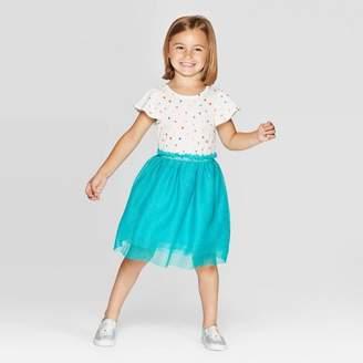 Cat & Jack Toddler Girls' Short Sleeve Polka Dot Tulle Dress - Cat & JackTM Cream/Turquoise