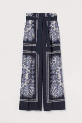 H&M Wide-leg Patterned Pants - Blue