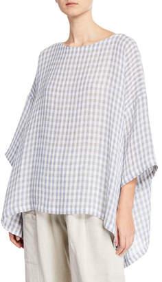 eskandar 3/4-Sleeve Gingham Oversized Blouse