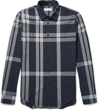 Burberry London Slim-Fit Checked Cotton-Seersucker Shirt $385 thestylecure.com