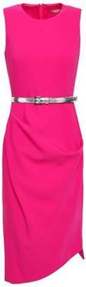 Michael Kors Asymmetric Gathered Wool-blend Crepe Dress