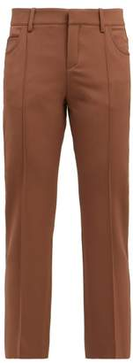 Chloé Slim Leg Wool Trousers - Womens - Dark Brown