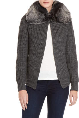 Cliche Faux Fur Collar Cardigan