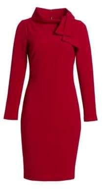 Badgley Mischka Tie Neck Midi Dress