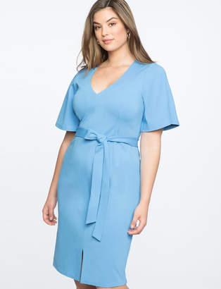Flare Sleeve Tie Waist Dress