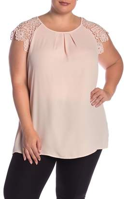 Philosophy Apparel Lace Shoulder Blouse (Plus Size)