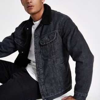 River Island Lee black fleece collar denim jacket