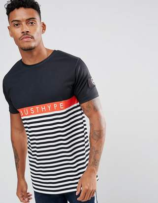 Hype T-Shirt In Black With Stripes
