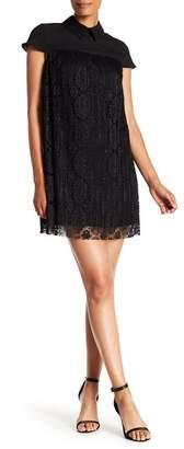 Nanette Lepore NANETTE Pleated Lace Keyhole Shift Dress