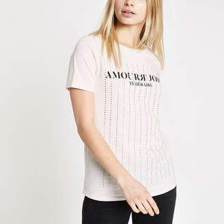 River Island Womens Cream diamante embellished T-shirt