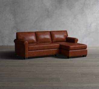 Pottery Barn York Roll Arm Leather Sofa with Chaise Sectional